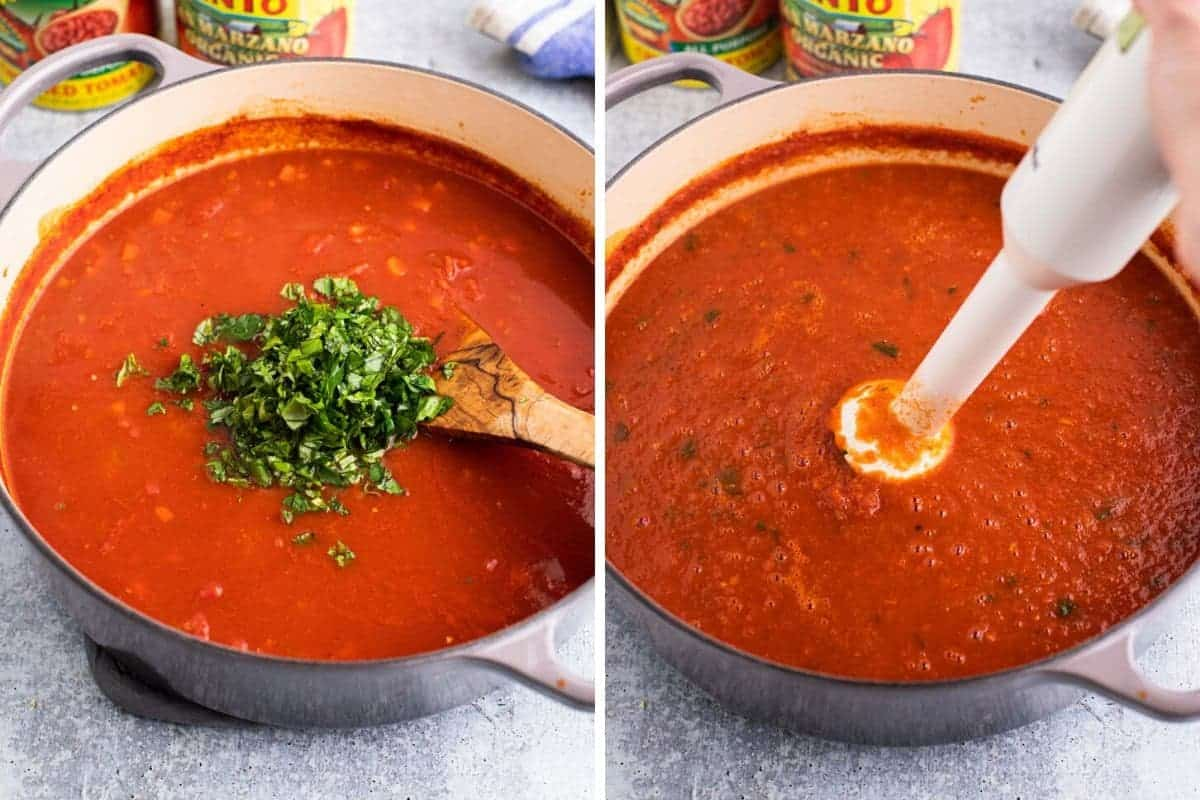 2 photo collage of adding basil and mixing with an immersion blender