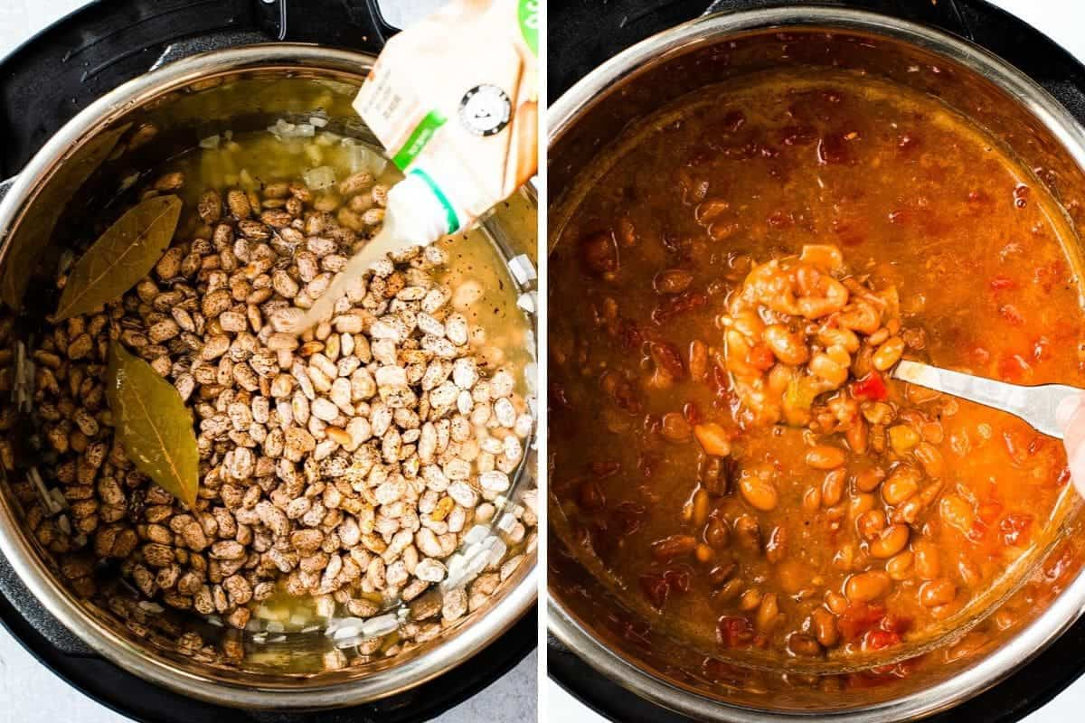 2 photo collage-adding broth to pot with beans and after cooked with tomatoes and green chillies added.