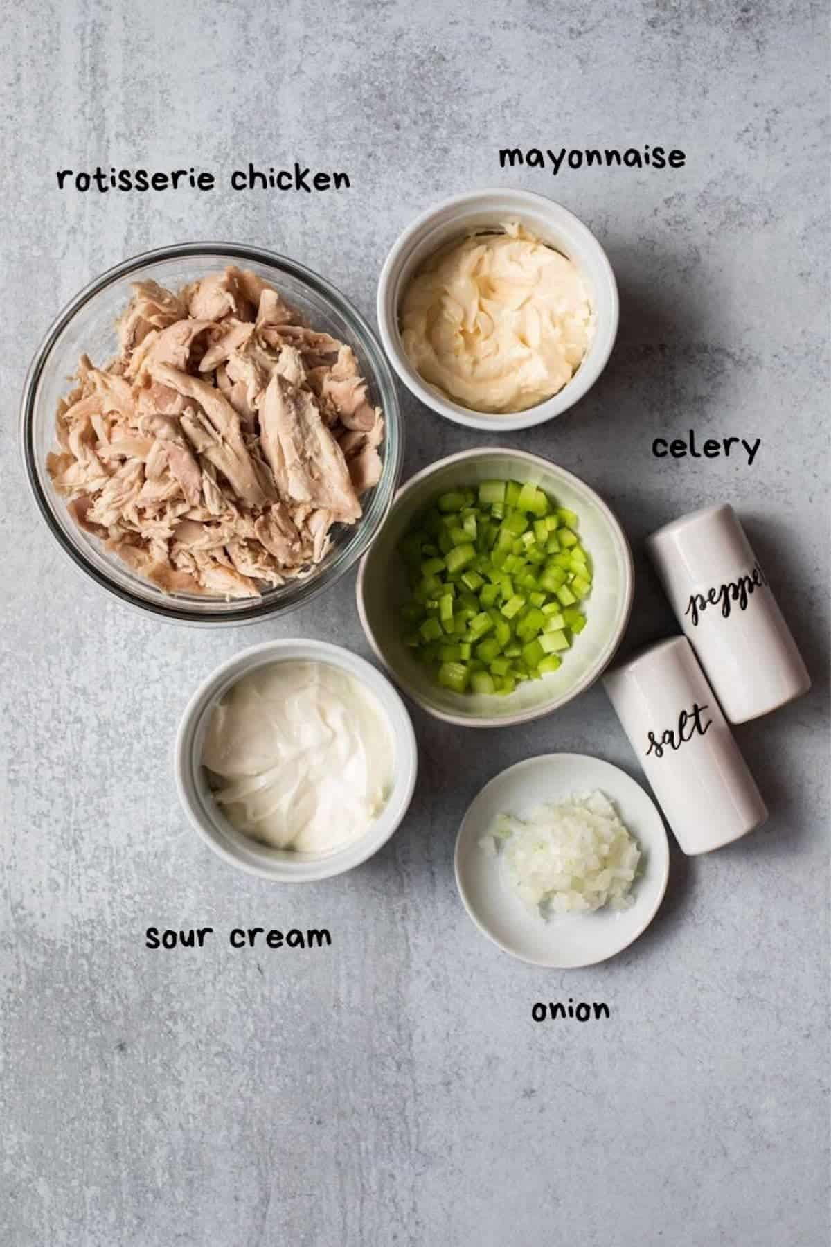 overhead view of shredded chicken, celery, onion, mayo, sour cream salt and pepper