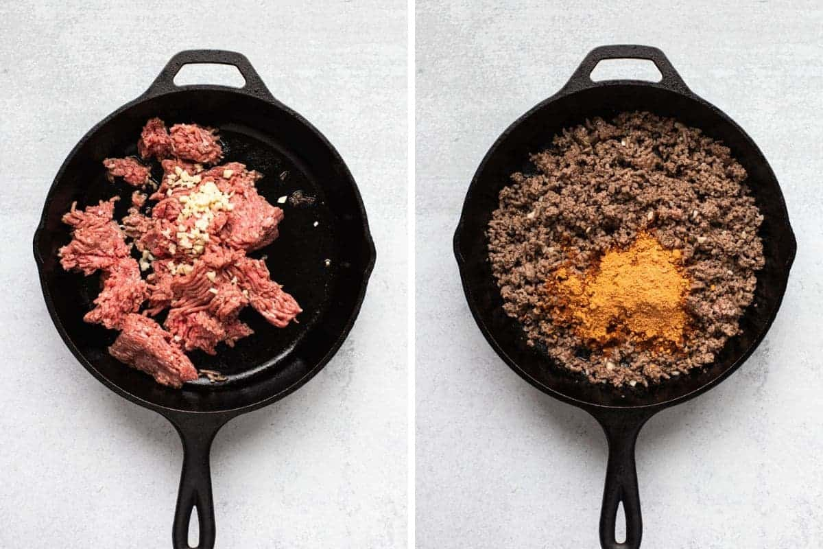 two photo collage-on left raw ground beef and garlic-on right cooked beef with taco seasoning