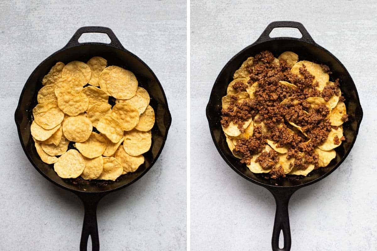 two photo collage on left a cast iron skillet with chips on right chips and cooked beef
