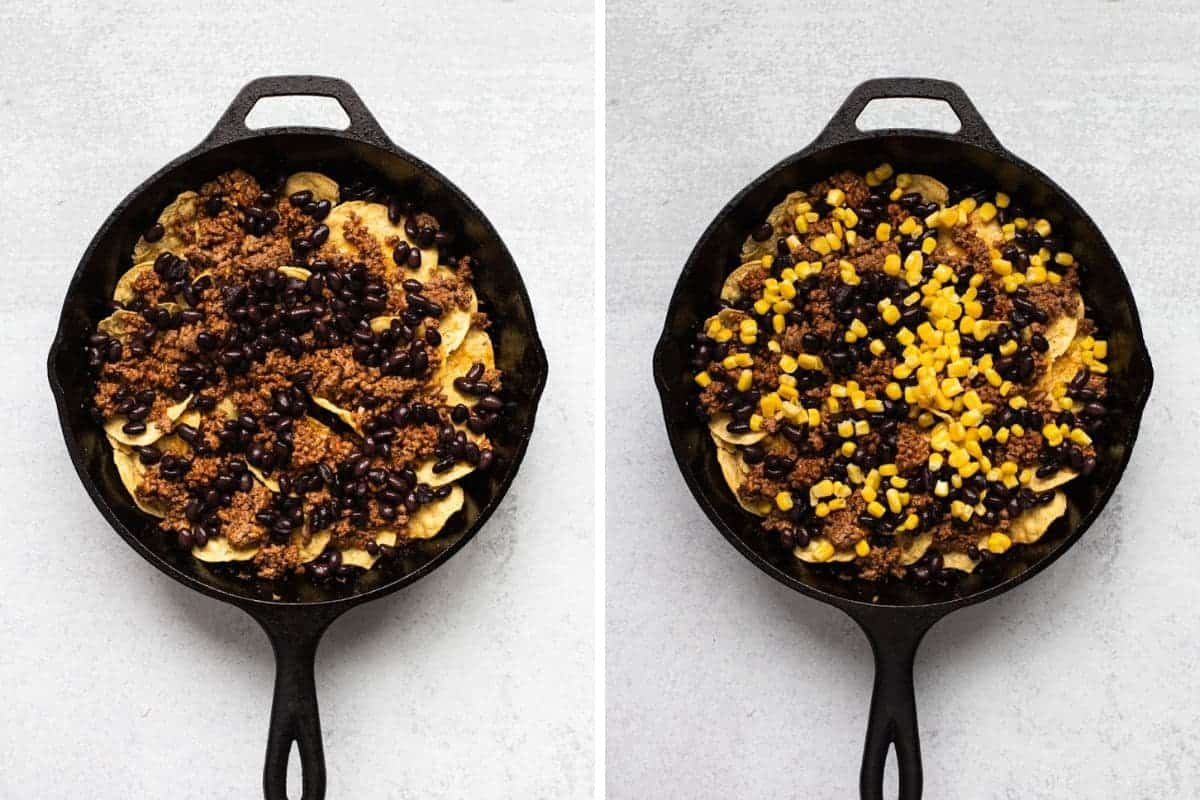two photo collage-on left skillet filled with chips, beef, and black beans-on right adding corn