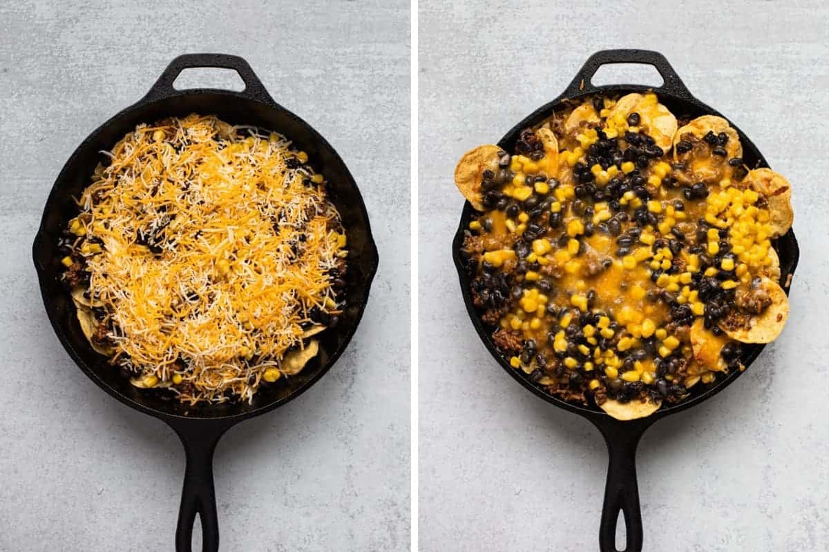 two photo collage-on left skillet filled with nacho ingredients before baking-on right after baking
