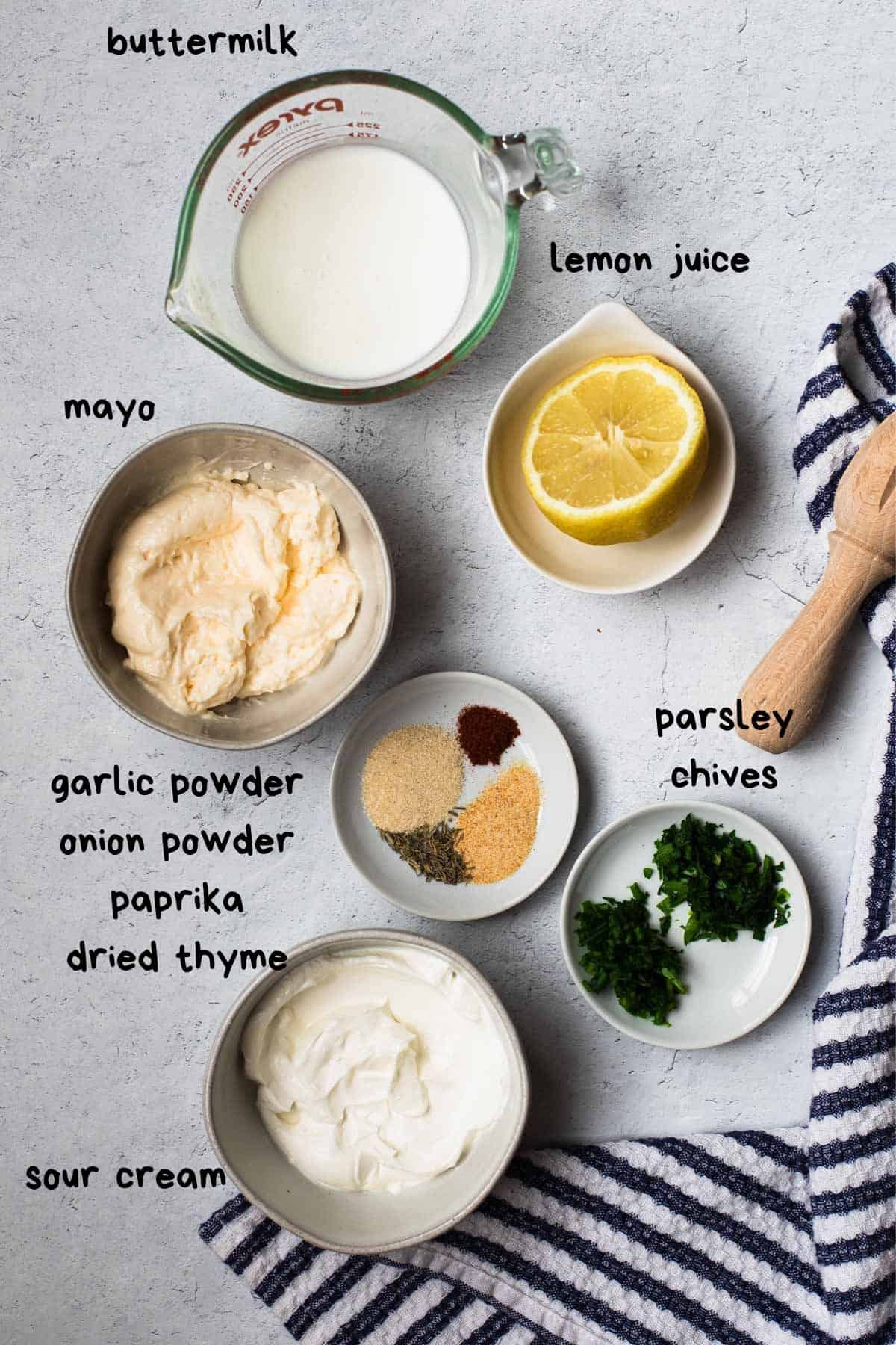 overhead view of ranch dressing ingredients with text lables