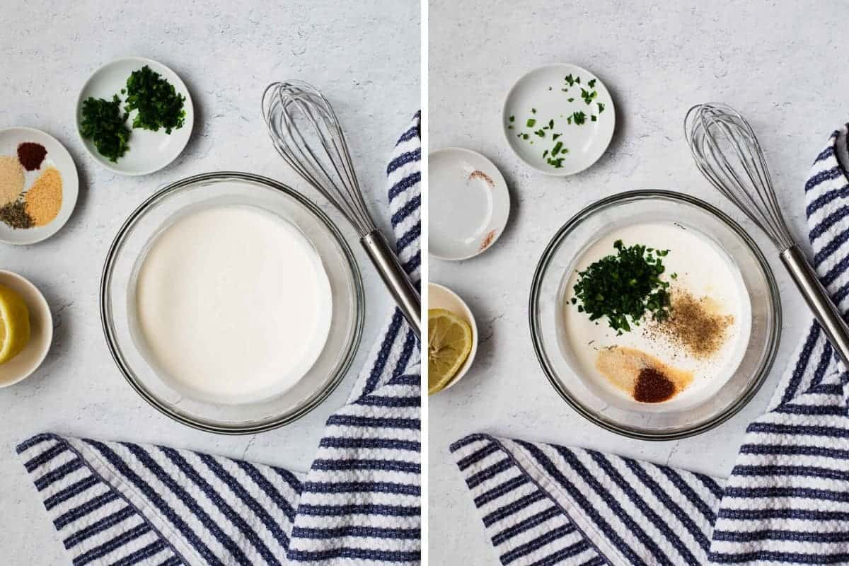 two photo collage of mixing sour cream and buttermilk and spices together