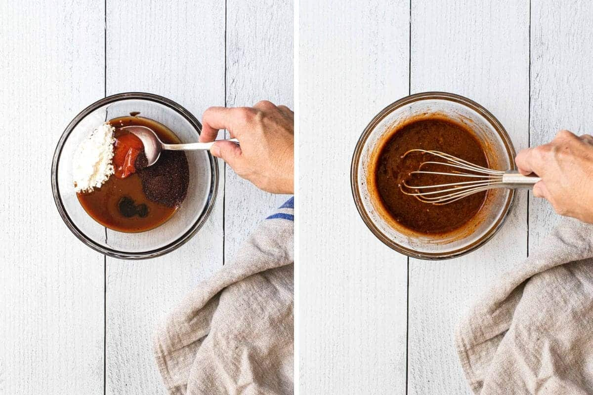 2 photo collage showing sauce being made