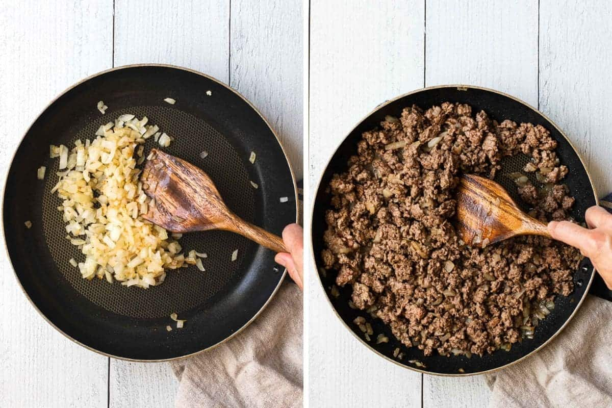 2 photo collage showing onions and ground beef being cooked in a skillet