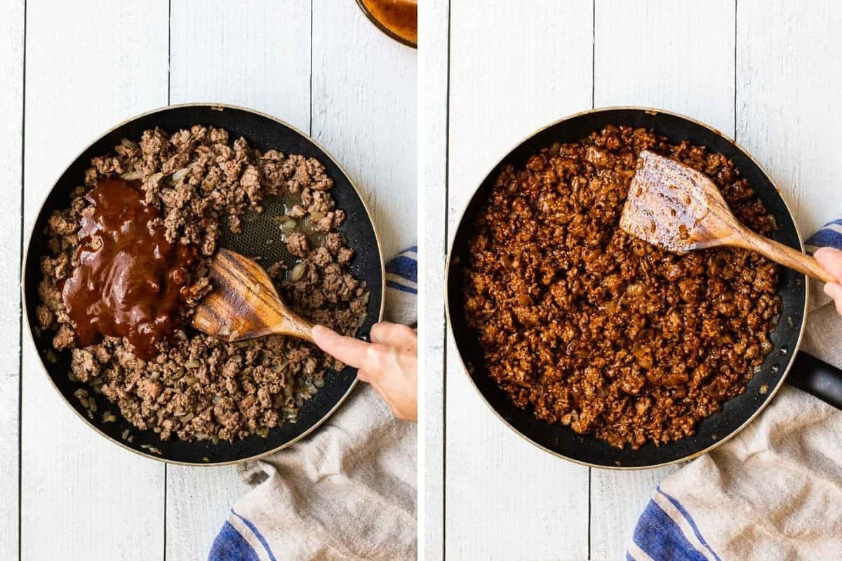 2 photo collage showing ground beef being cooked with sauce