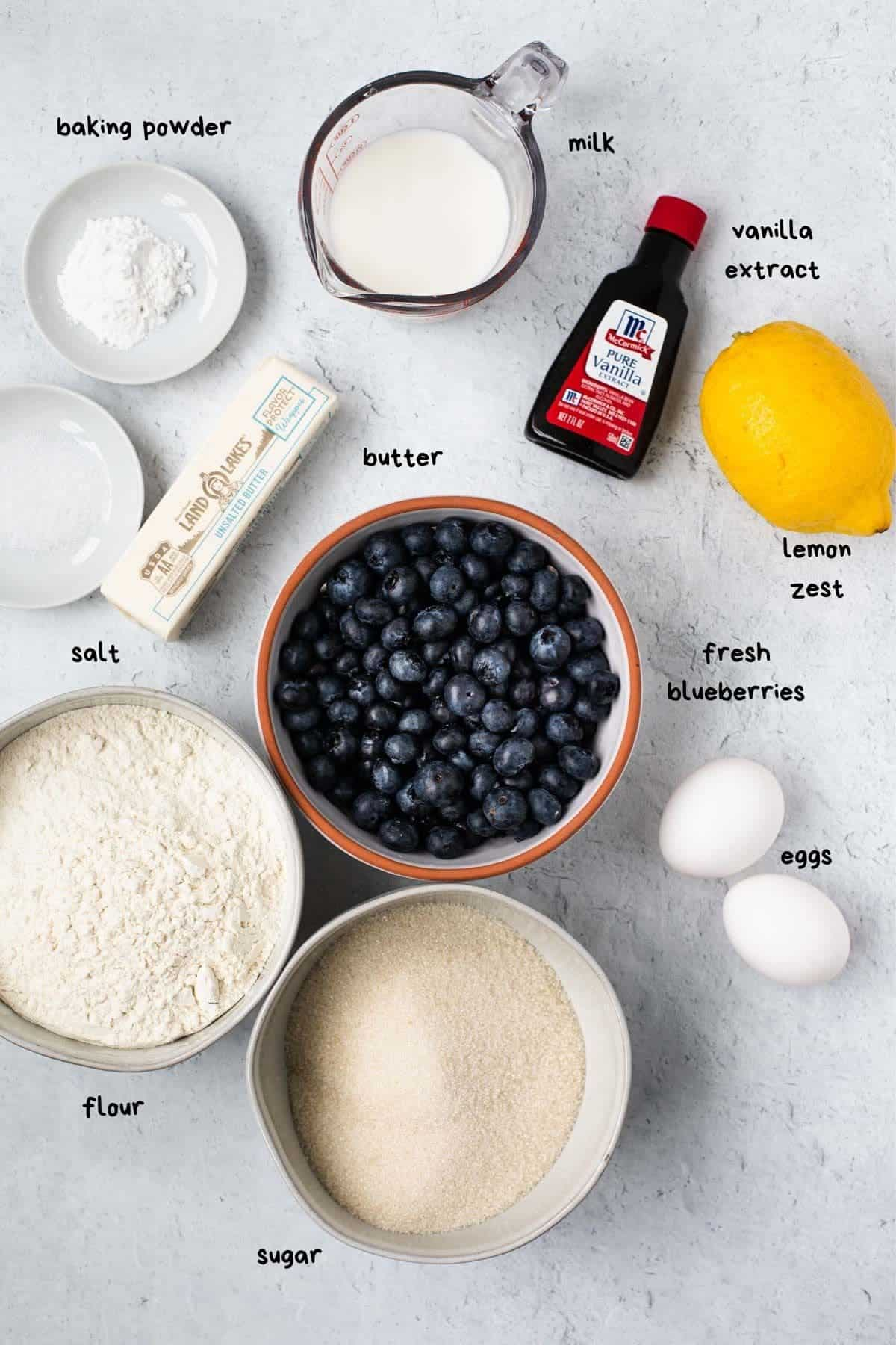 overhead view of recipe ingredients like fresh blueberries and butter