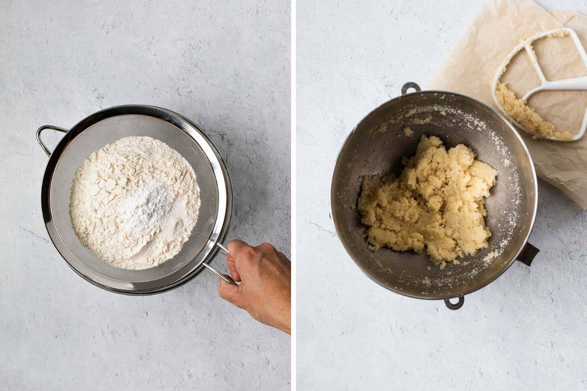 two photo collage showing sifting flour and a bowl fo creamed butter and sugar