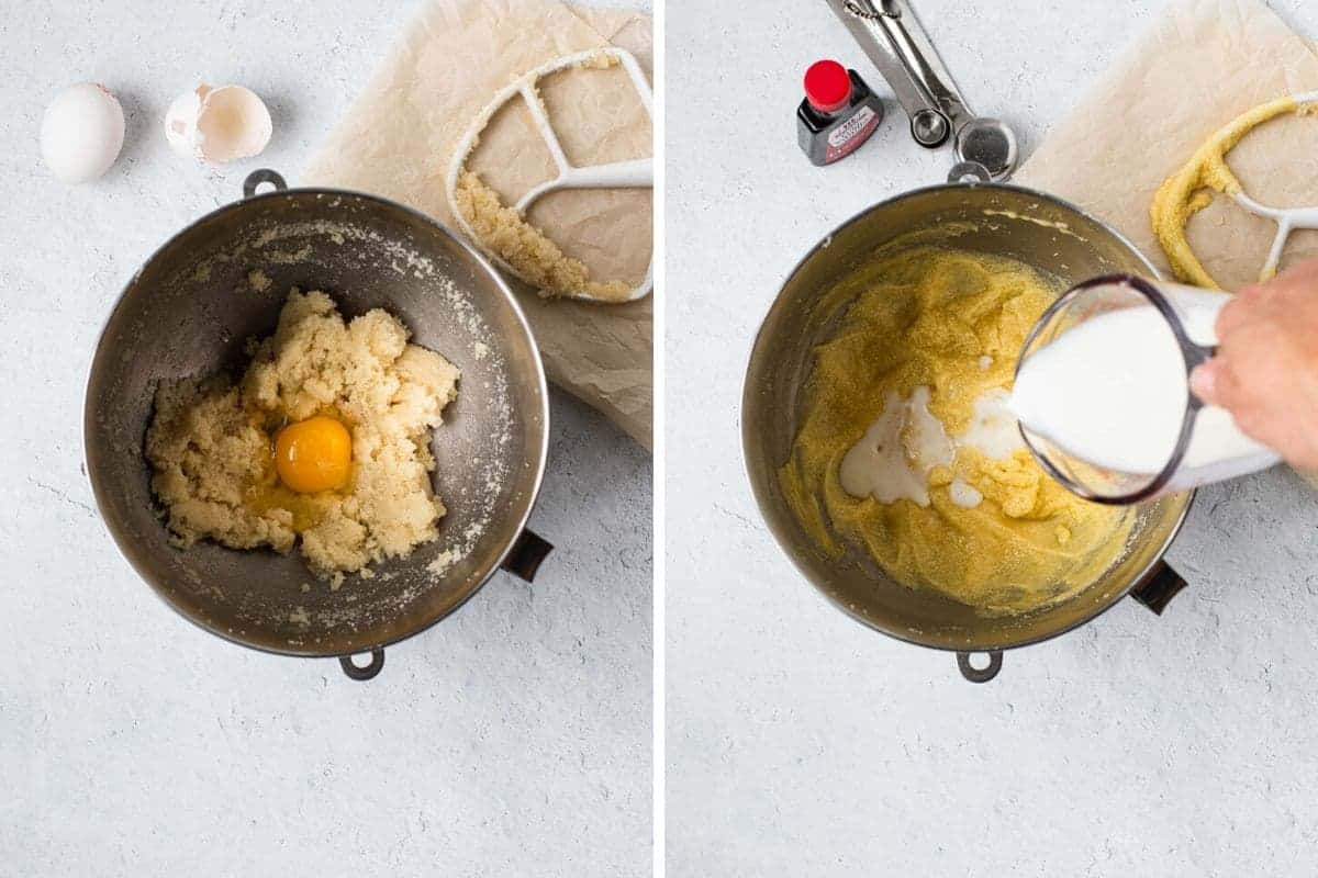 2 photo collage showing eggs and milk being added to batter