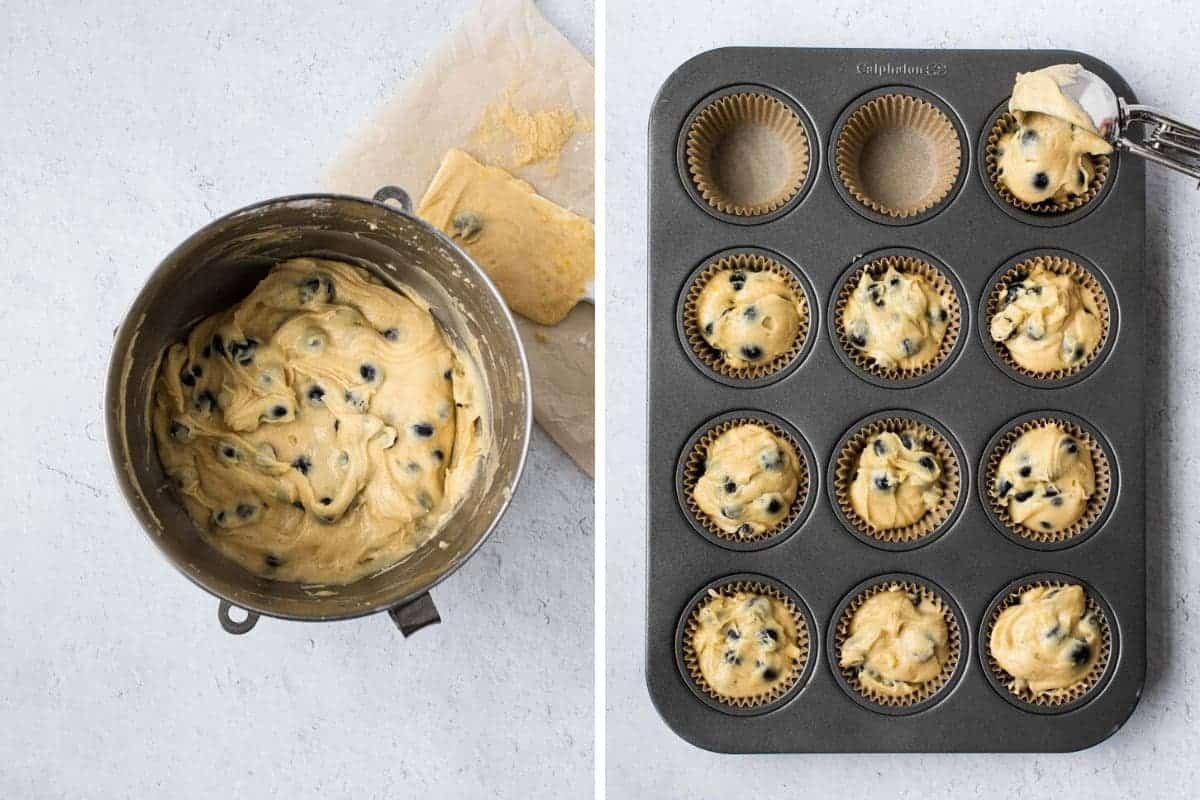 2 photo collage with batter in bowl and in muffin tin