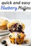 2 blueberry muffins stacked on top of each other with glaze dripping down