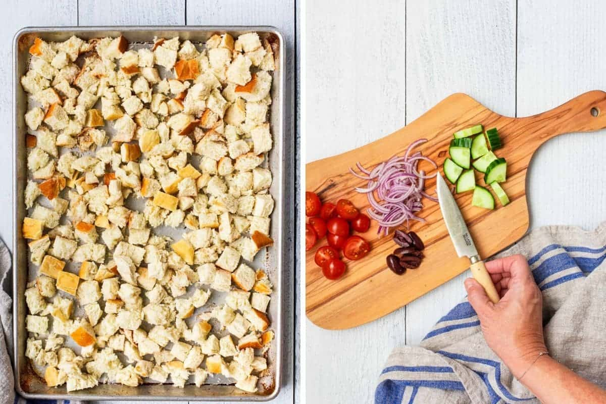 2 photo collage of cubed bread on a baking sheet and a cutting board with chopped veggies and a knife