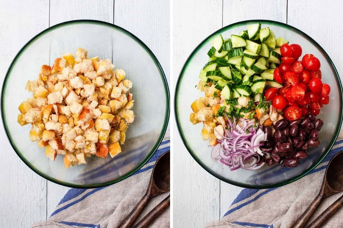 2 photo collage of toasted bread in a bowl and cut up veggies layered over the bread