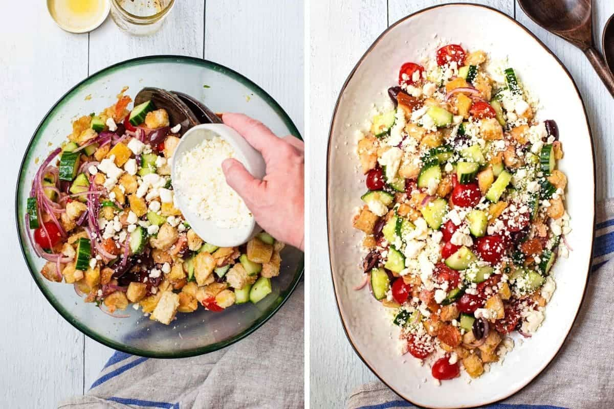2 photo collage of sprinkling feta cheese over the bread salad and the finished panzanella on a white platter