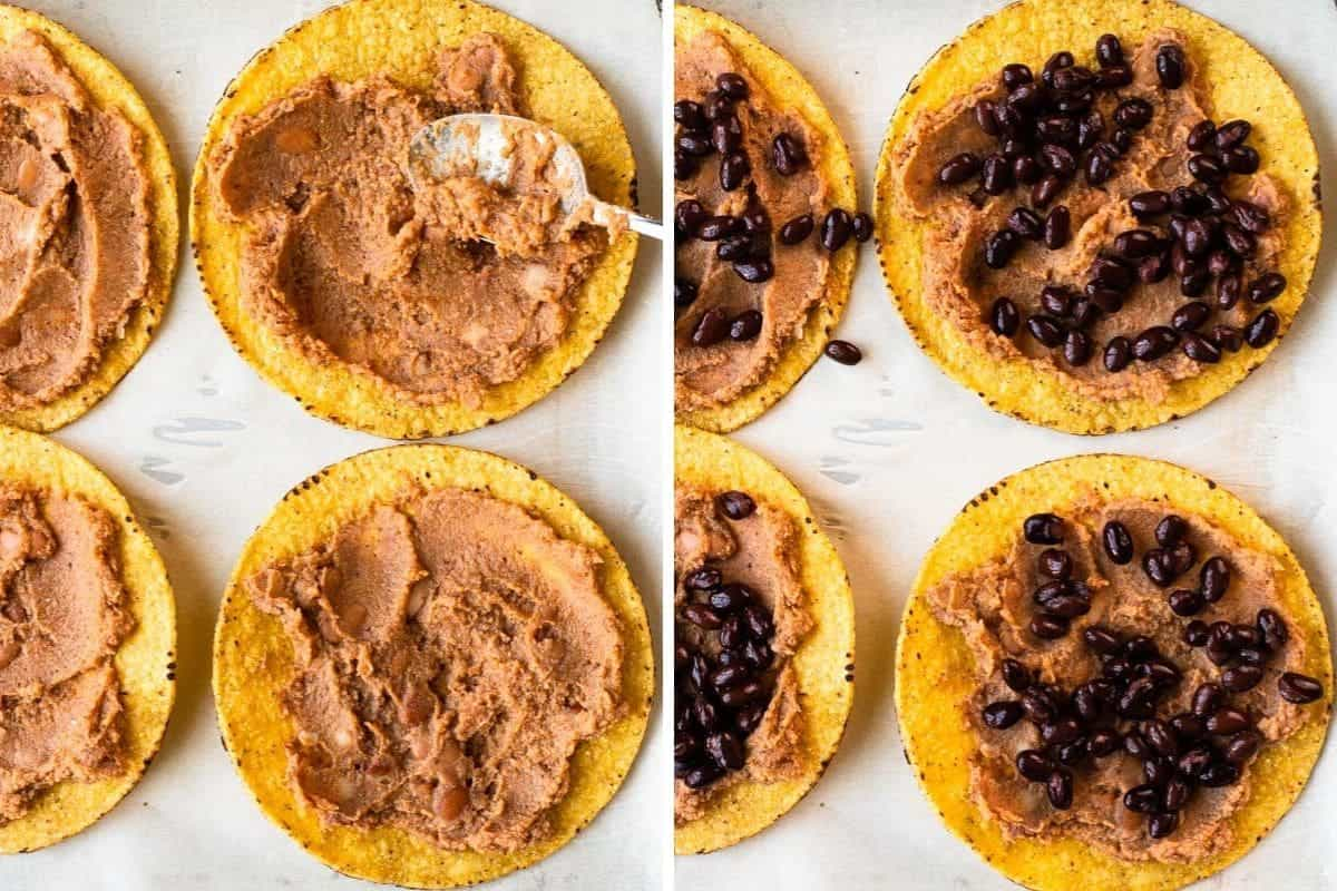 2 photo collage of refried and black beans on top of tostadas