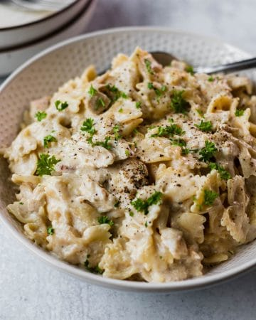 close up of instant pot chicken alfredo recip in a white bowl