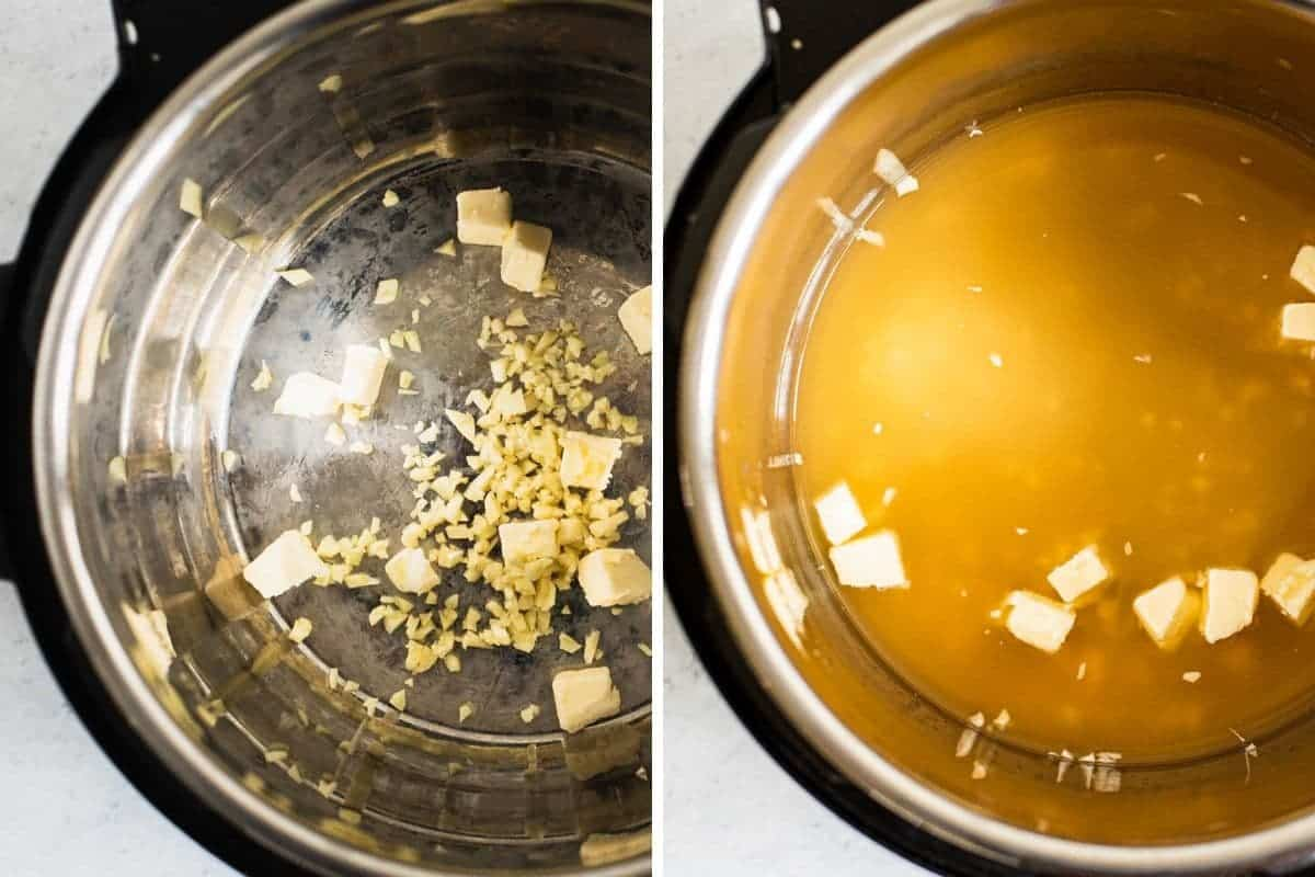 2 photo collage of butter, garlic, and broth going into an instant pot