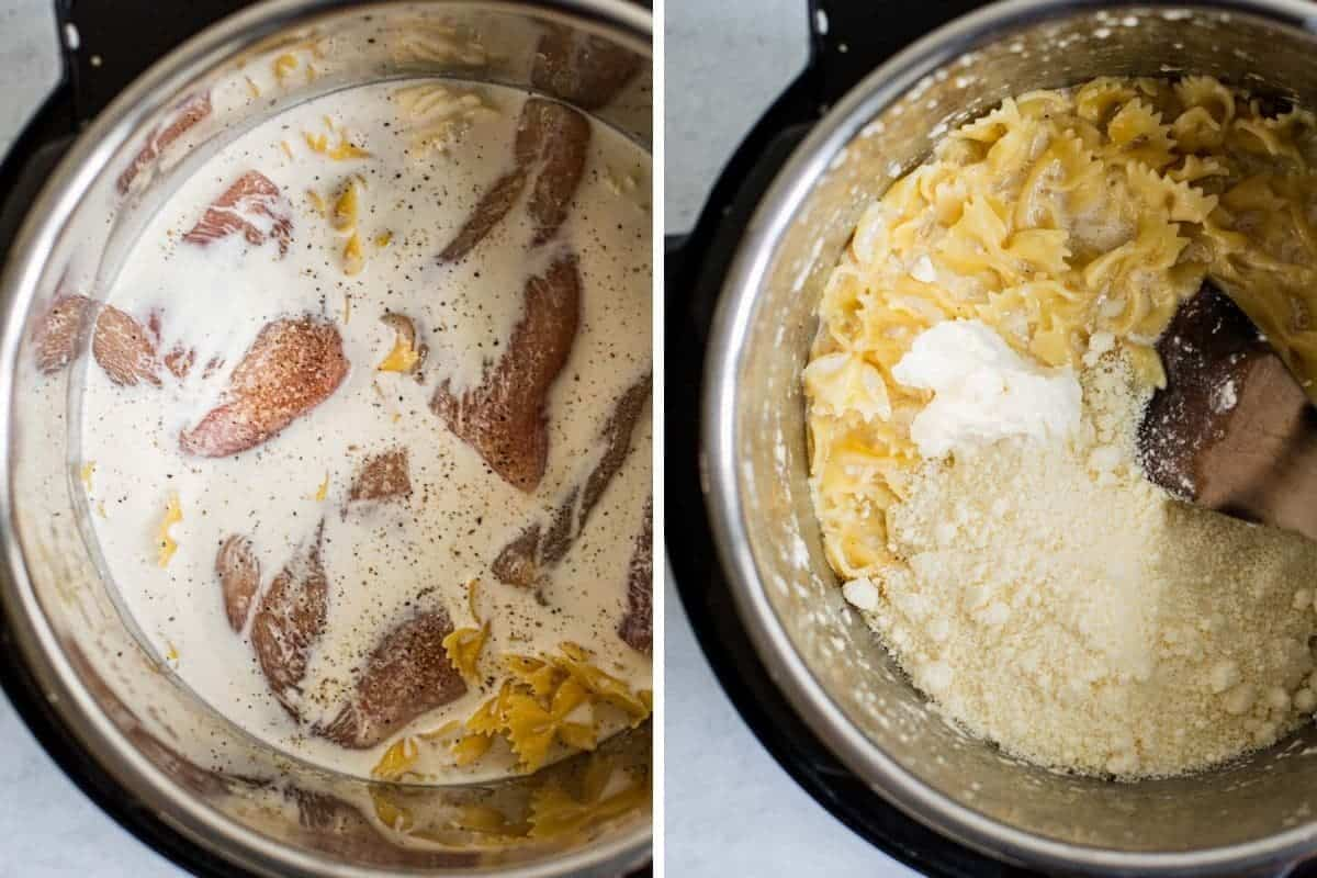 two photo collage of raw chicken before and after being cooked with pasta in an instant pot