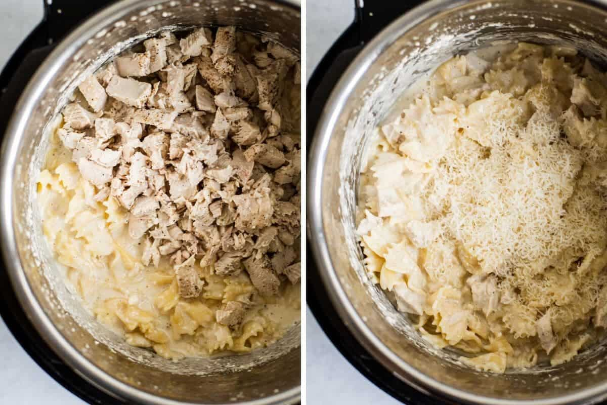 two photo collage of cut chicken being stirred into an instant pot with pasta in a white cream sauce