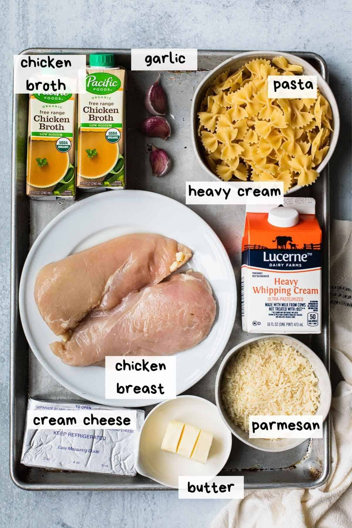 overhead view of ingredients with text lables