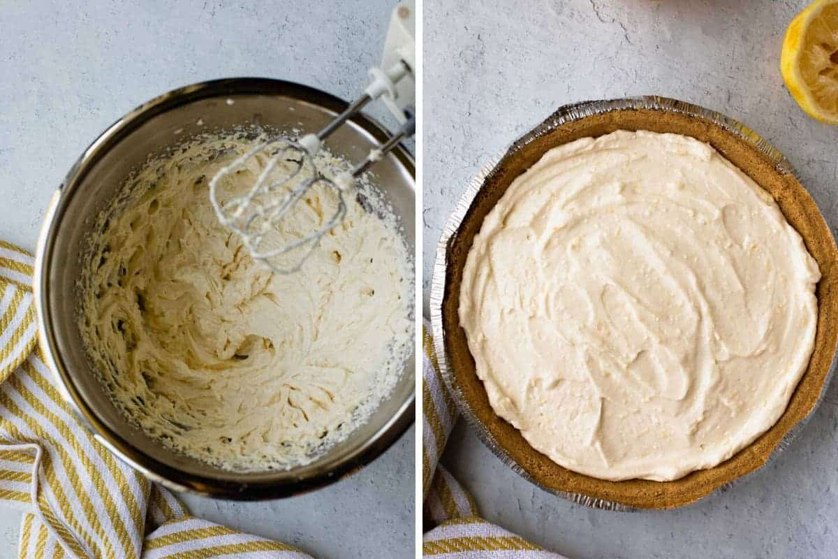 two photo collage of recipe steps