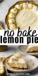 No bake lemon pie whole and a slice on a plate.