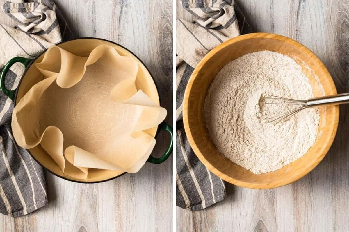 lining a dutch oven with parchment and mixing flour and other ingredients in a large wooden bowl
