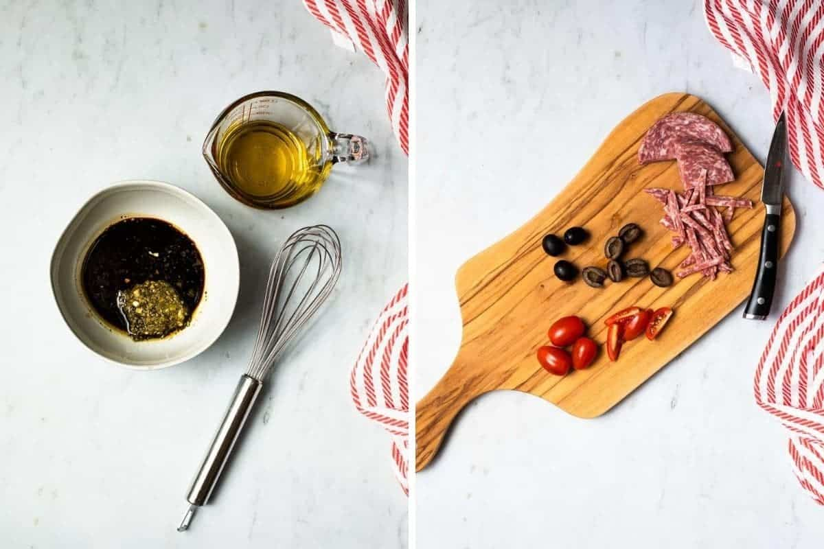 collage showing dressing ingredients and chopped olives, tomatoes and salami on a cutting board