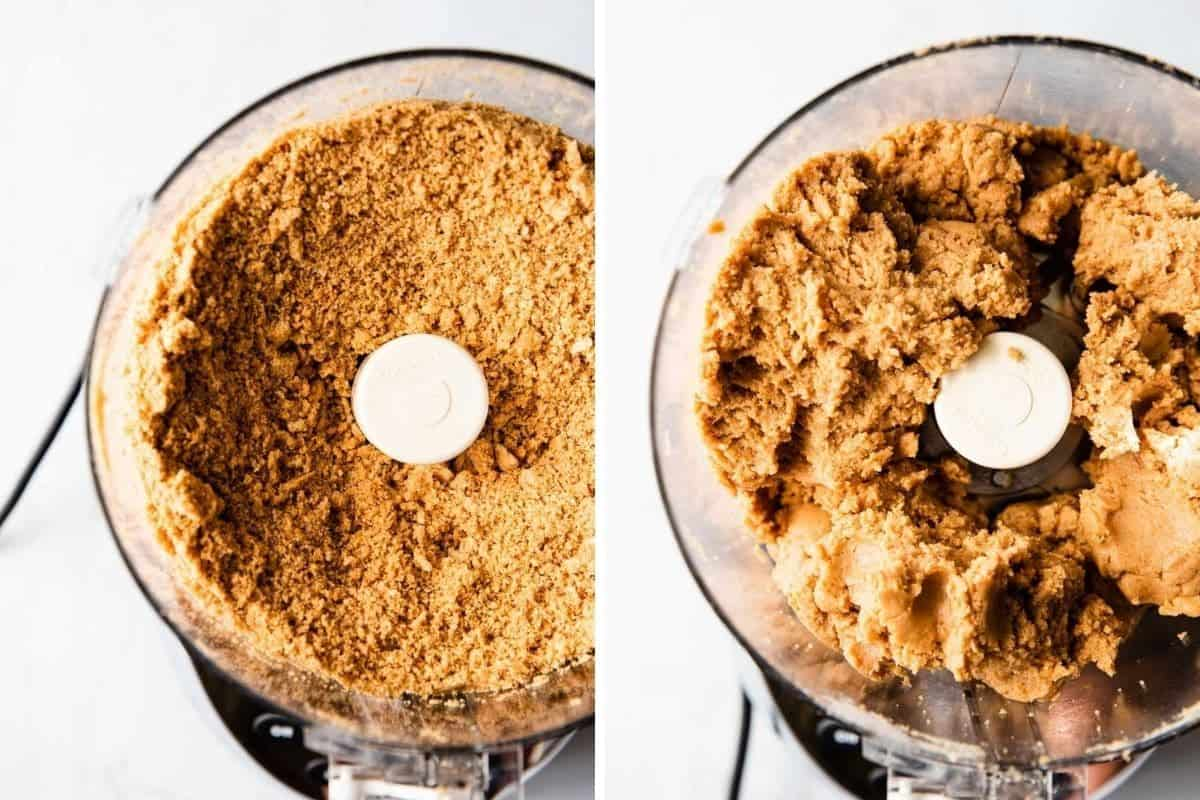 photo collage of cookie crumbs in a food processor and cookie filling after cream cheese has been mixed in