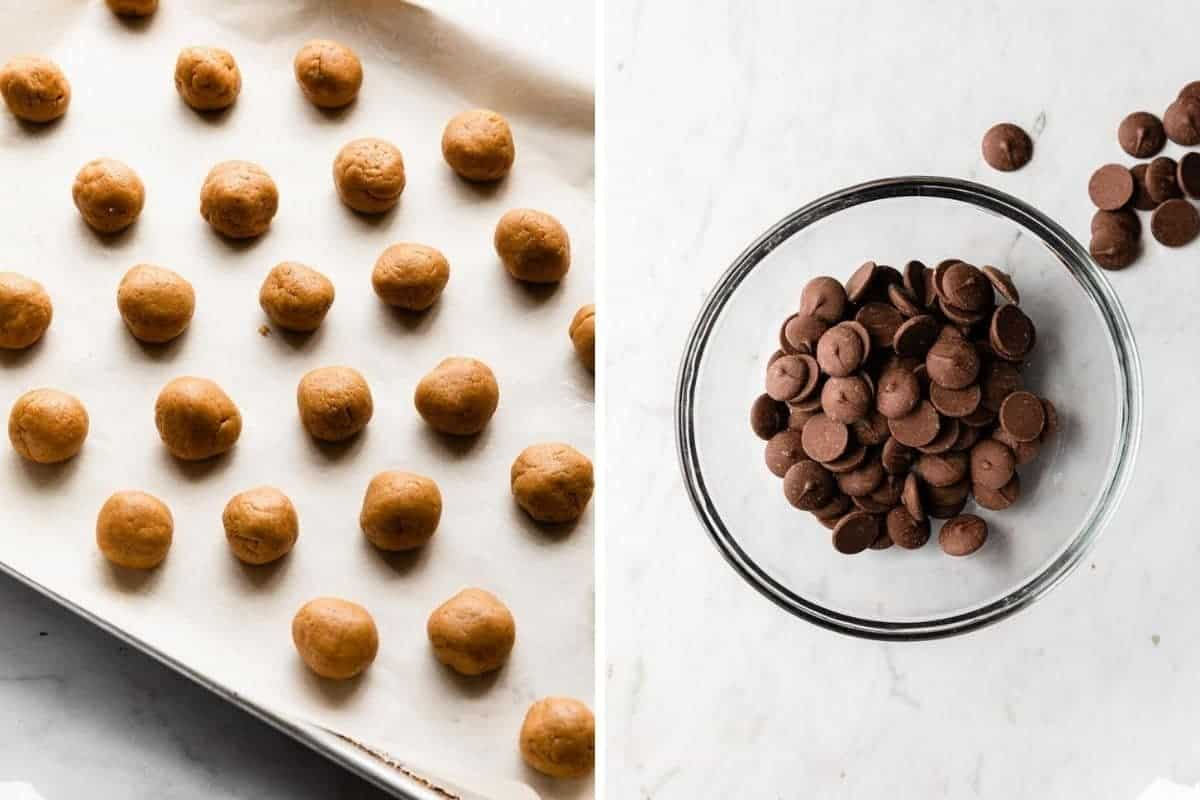 2 photo collage of peanut butter filling formed into balls and chocolate wafers before melting