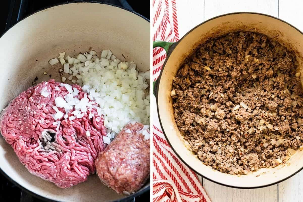a pan with raw meat and onions of left -cooked on the right