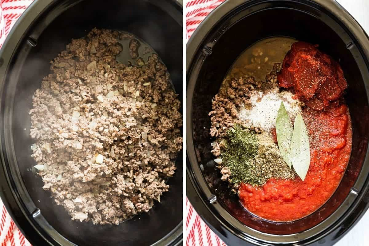 cooked meat in slow cooker insert on right- meat with added tomato sauce and spices