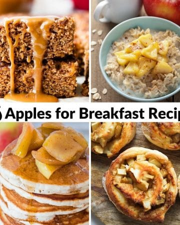 collage of apple breakfast recipes with text overlay