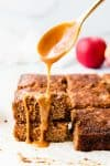 apple spice cake drizzled with caramel sauce