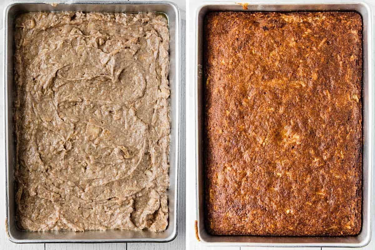 before and after baking in a pan