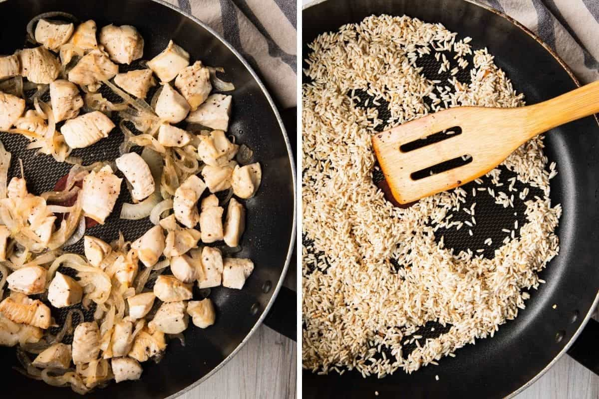 browning the chicken and rice