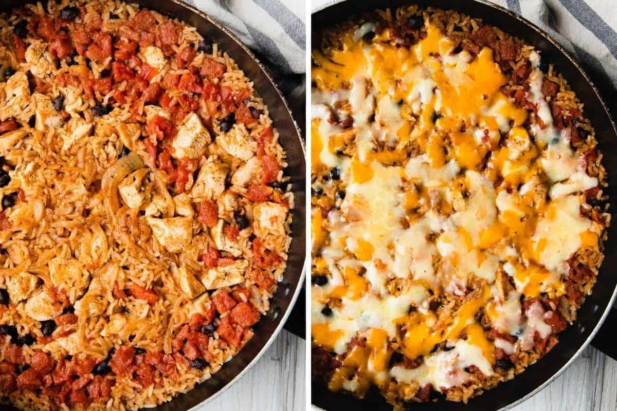 the recipe before and after adding cheese