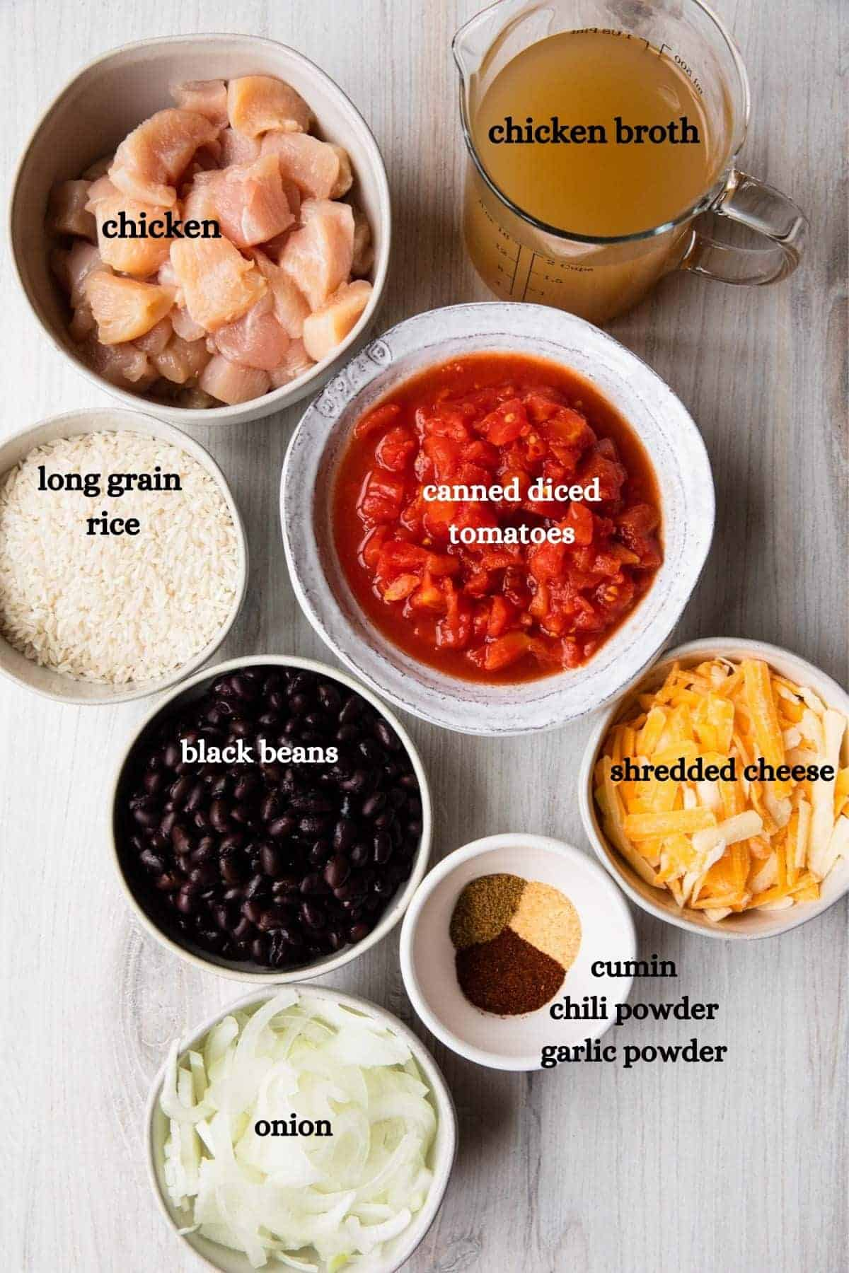 recipe ingredients with text lables