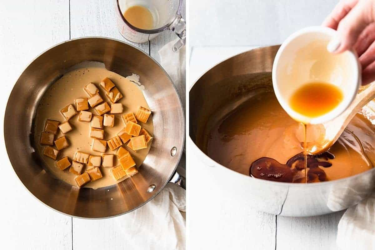 photo collage showing how to melt the caramels and adding the maple syrup