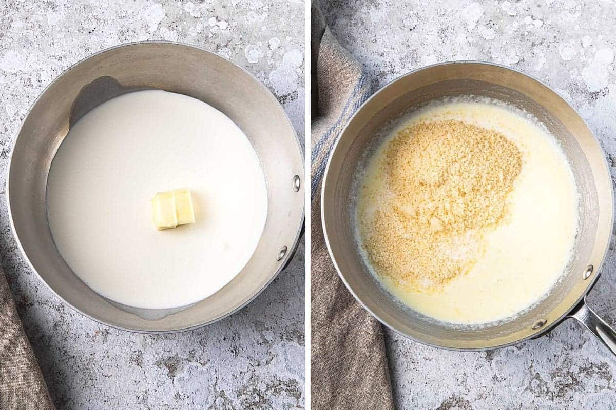 collage showing cream recipe steps