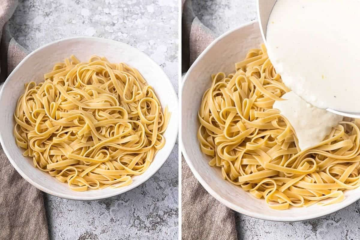 collage showing alfredo sauce being poured on pasta noodles