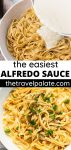 collage of fettuccine alfredo with text overlay