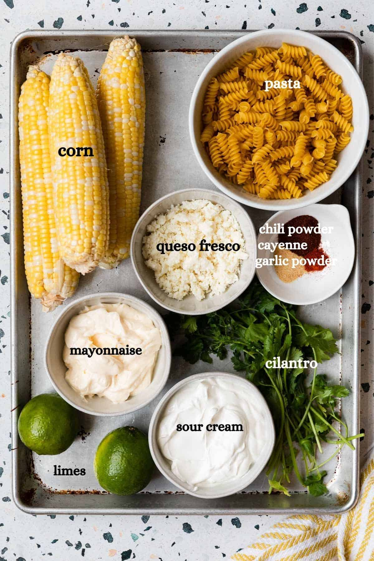 overhead shot of the ingredients for the recipe with lables