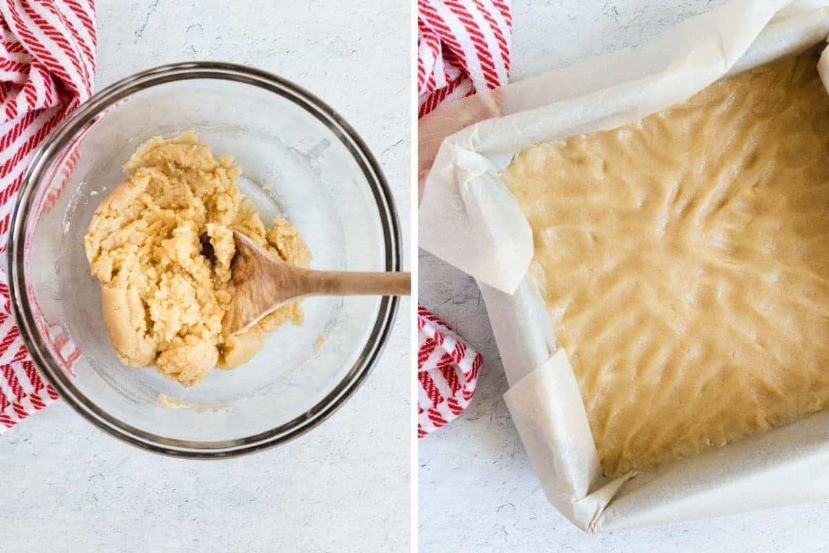 2 photos showing the shortbread layer being mixed and spread in baking pan