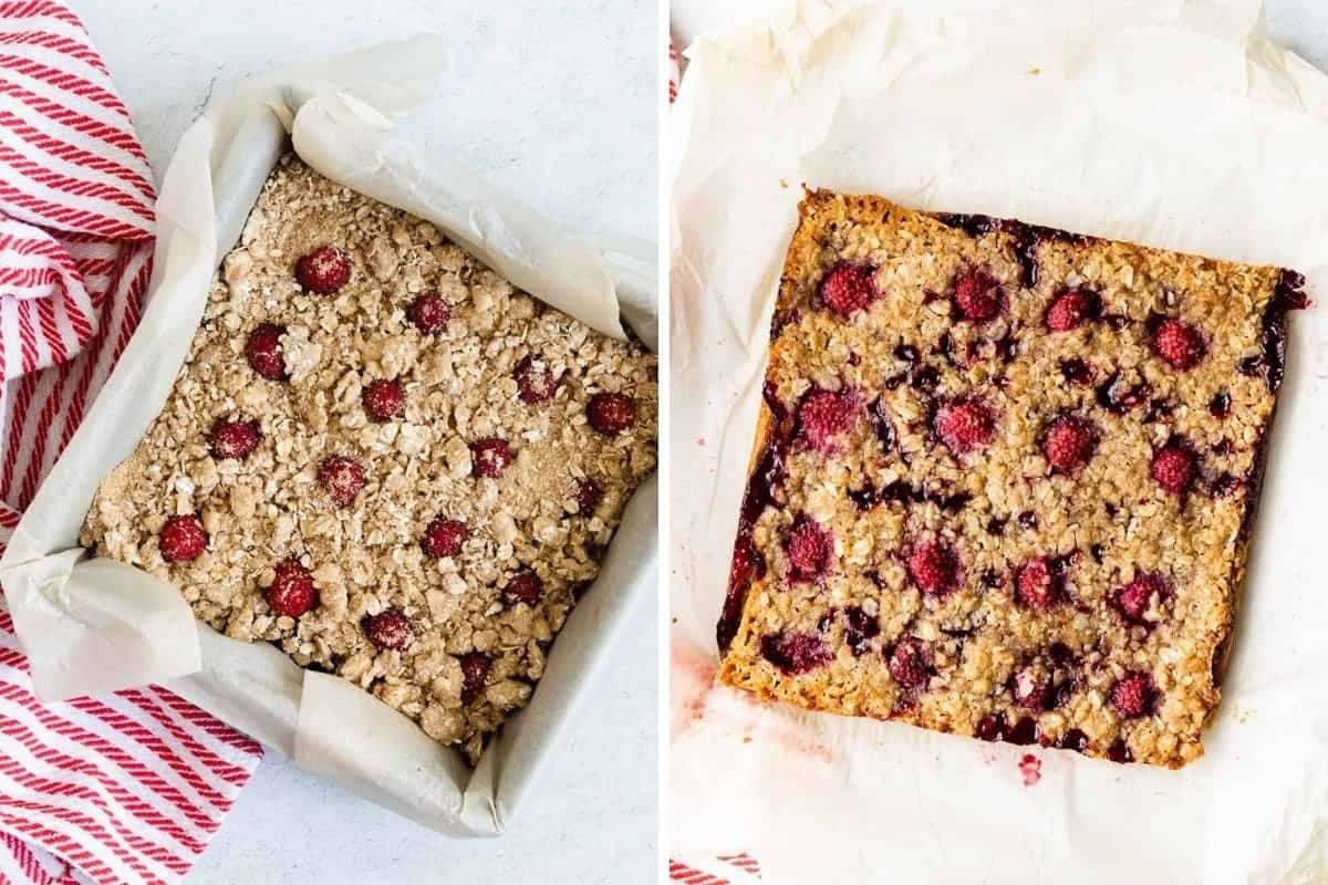 2 photos showing the recipe before and after baking