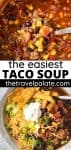 photo collage of taco soup with text overlay
