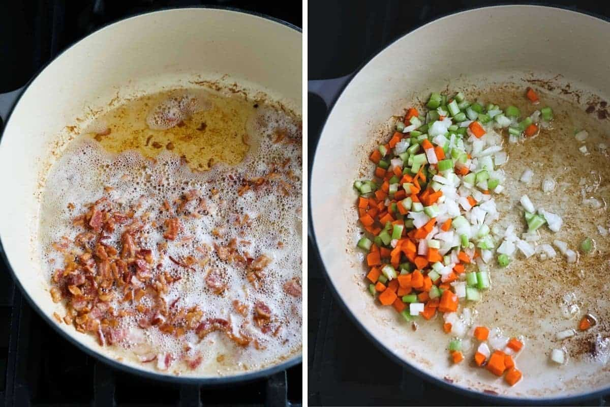 cooking the bacon and vegetables for the soup