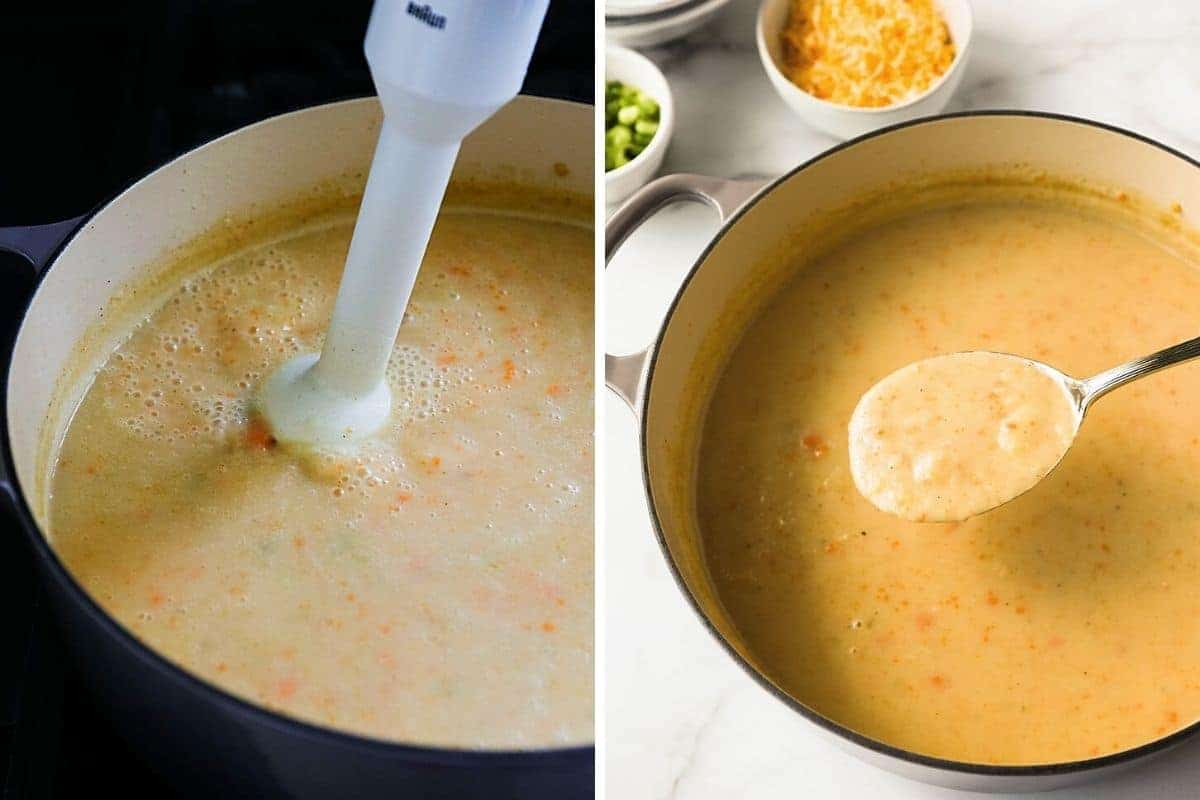pureeing soup with a handheld blender and finished soup in pot